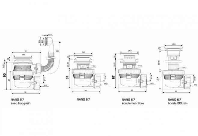 Gamme bonde et siphon de lavabo ultra compact NANO 6.7