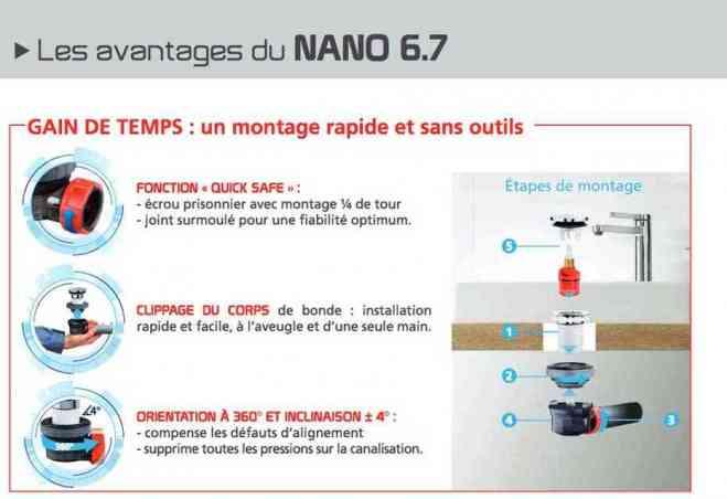 Détail de la bonde et siphon de lavabo ultra compact NANO 6.7