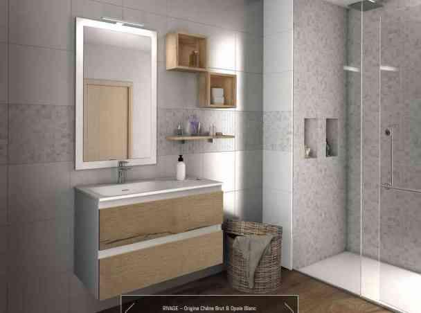 Meuble Rivage Concepts 90 vasque à gauche façade bicolore