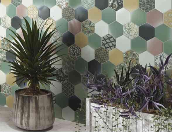 Carrelage tomette décorée style ciment pastel vert 26.5x51cm Hex Nouveau Realonda