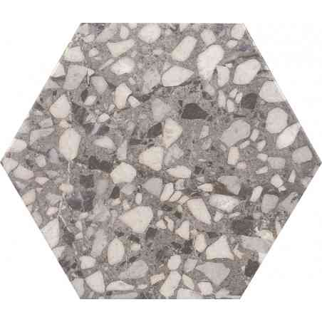 Terazzo 23X27 hexagonal série Six grey