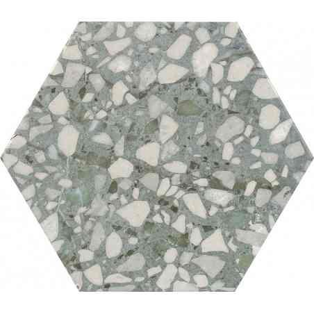 Terazzo 23X27 hexagonal série Six Sage
