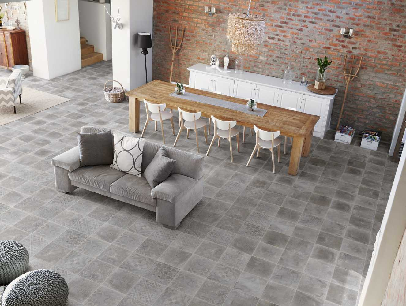 Ambiance Carrelage Atelier grigio avec decoro de chez Sintesi
